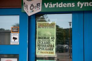 Aftonbladets löpsedel, i samband med reportage om vit älg. Detta kommer jag nog aldrig vara med om igen, naturbild på löpet, Juni 2014.