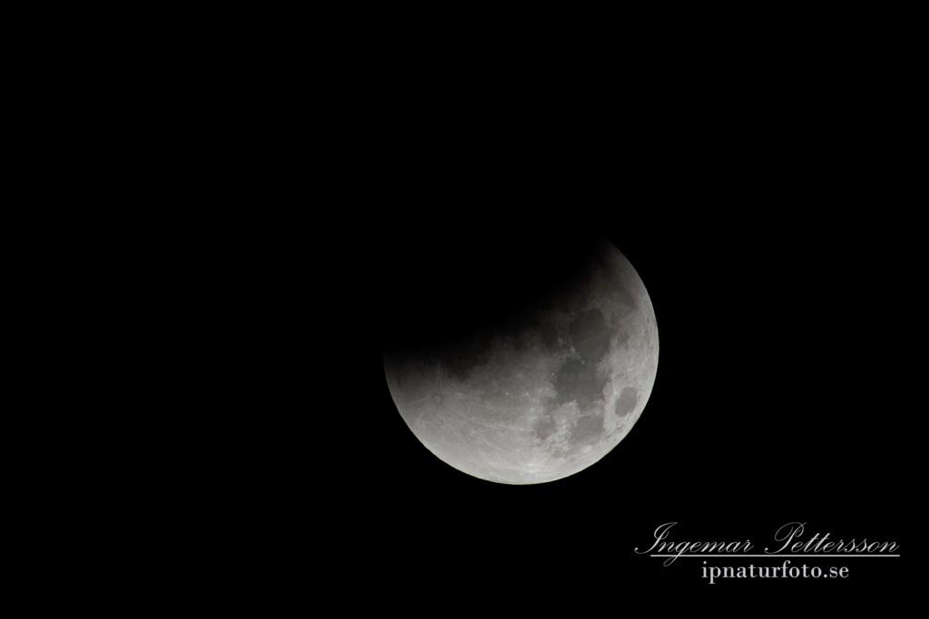 Klockan 03,28 och hela månen har snart hamnat i jordens skugga.